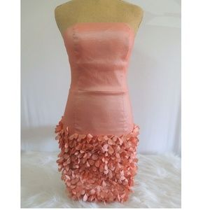Coral Strapless Party Dress Sz S P FOREVER 21